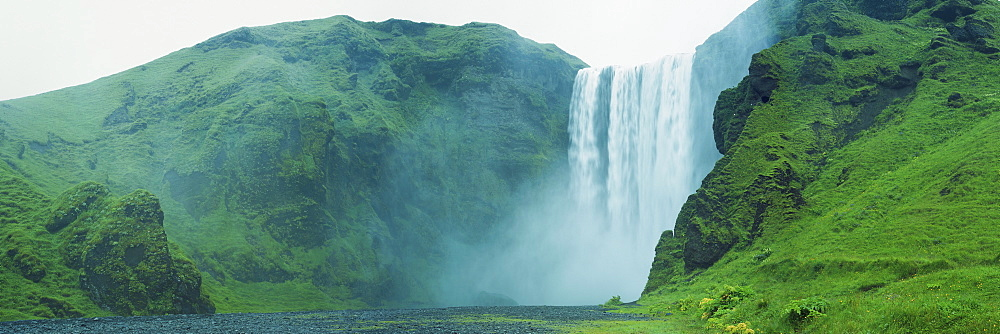 Panoramic view of Skogafoss Waterfall, Iceland