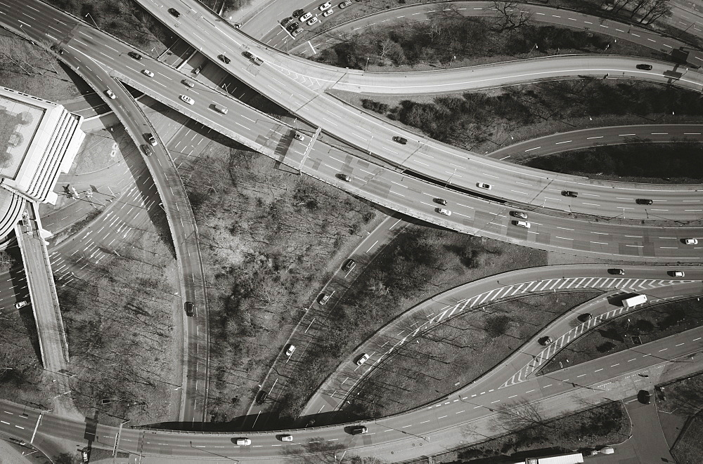 Aerial view of vehicles on highways, Berlin, Brandenburg, Germany
