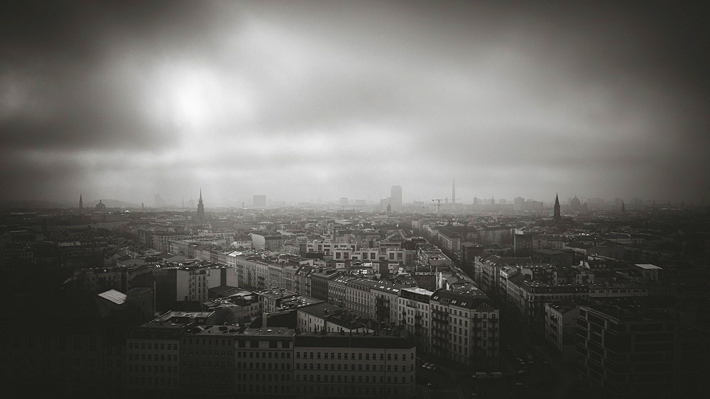 Aerial view of cityscape against sky during stormy weather, Berlin, Germany