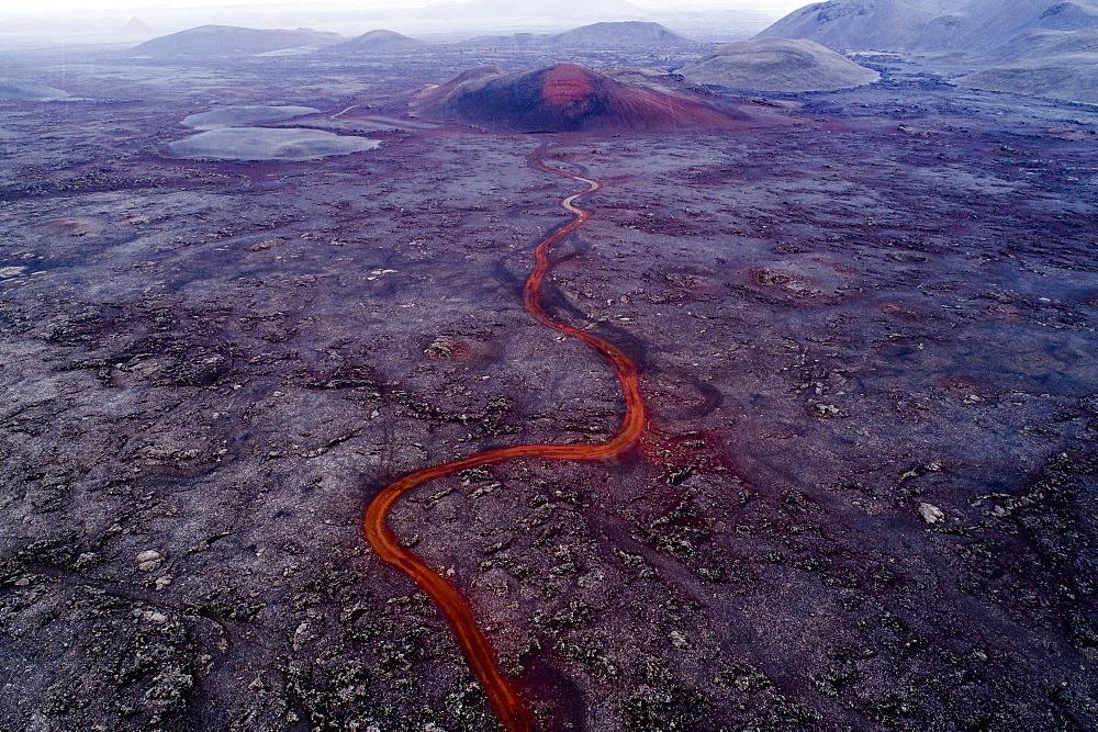 Aerial view of volcano and lava flowing through landscape, Kverkfjöll, Iceland