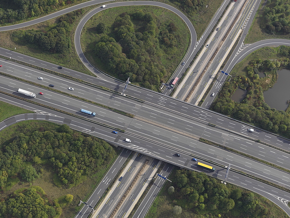Aerial view highway near Frankfurt, Hessen, Germany