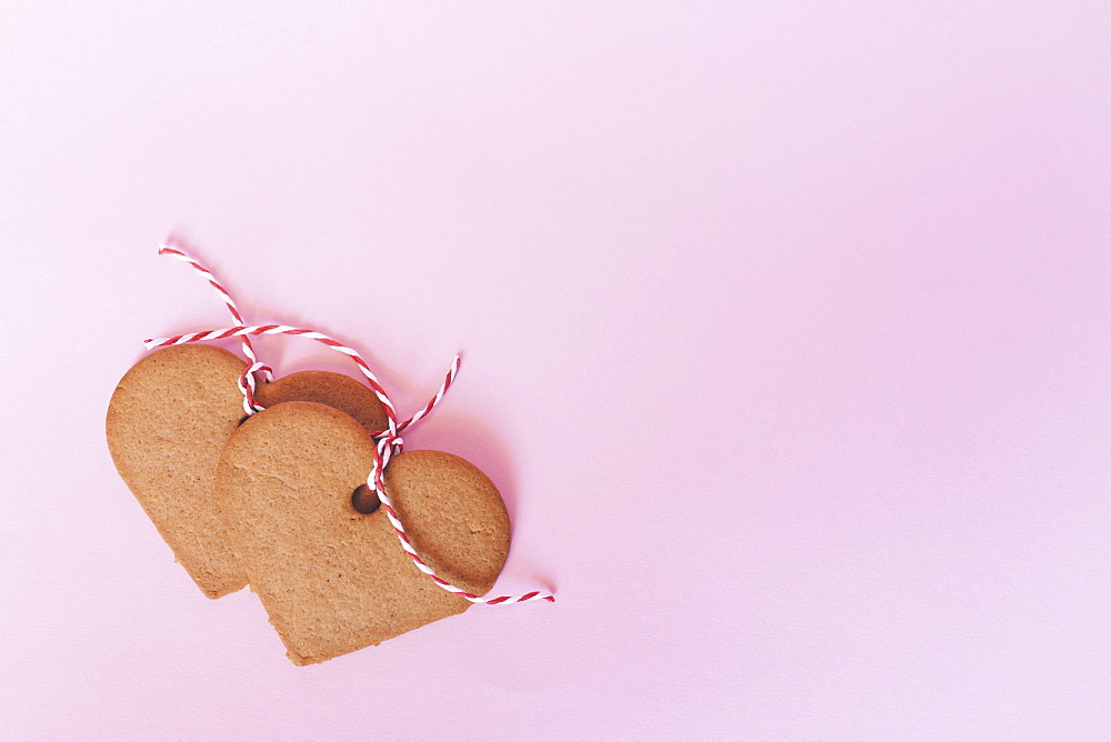 Heart shaped gingerbread Christmas cookie decorations