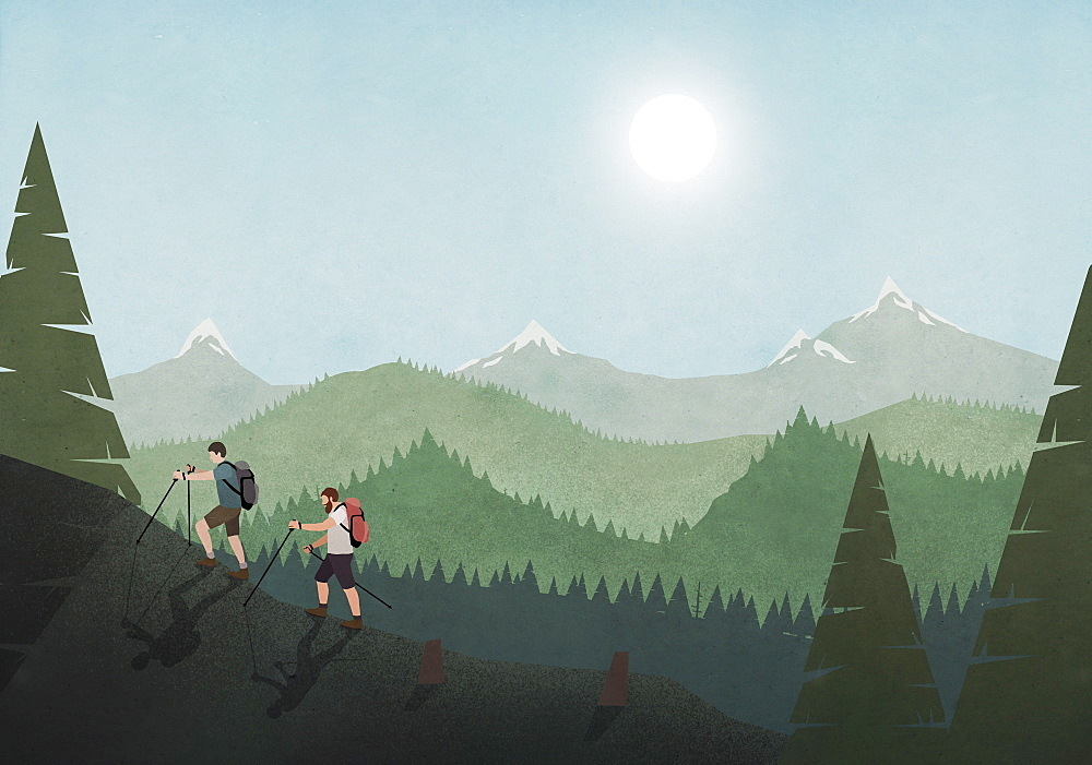Men hiking along idyllic mountain and forest landscape