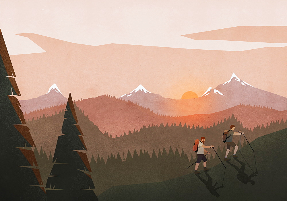 Men hiking along idyllic, tranquil sunset mountain and forest landscape - 1177-2095