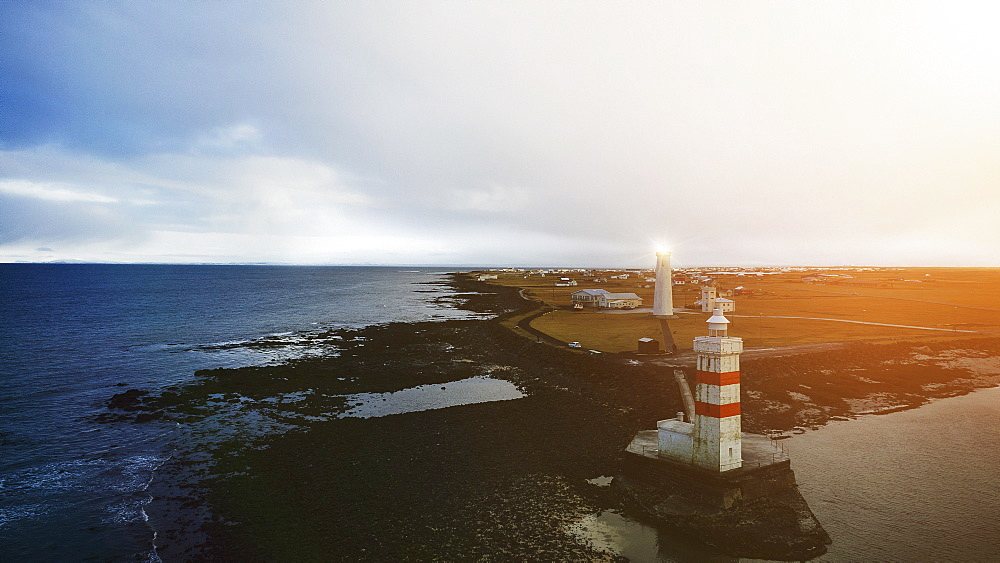 Old and new lighthouses along coastline, Reykjanesbaer, Iceland