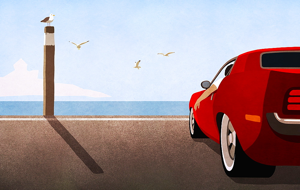 Red sports car parked at sunny ocean beach - 1177-2214