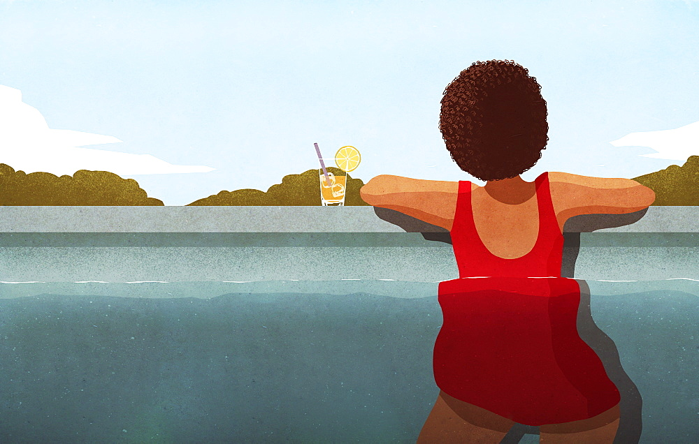 Woman relaxing in swimming pool with cocktail - 1177-2230