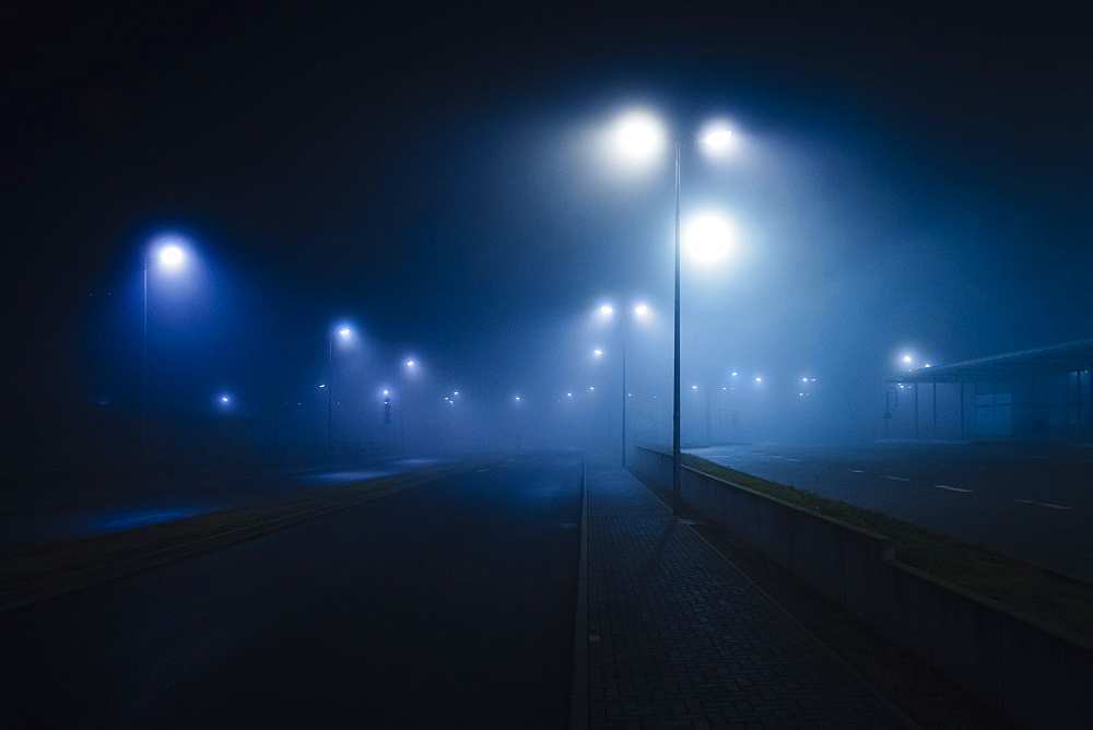 Street lamps illuminated over foggy, vacant road
