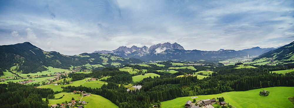 Drone point of view scenic, idyllic rolling green landscape, Kitzbuehel, Tyrol, Austria