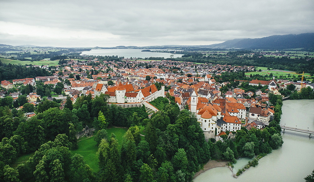 Drone point of view townscape, Fuessen, Bayern, Germany