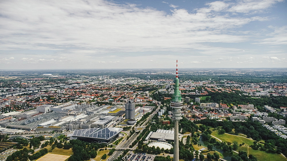 Drone point of view sunny Munich cityscape, Bayern, Germany