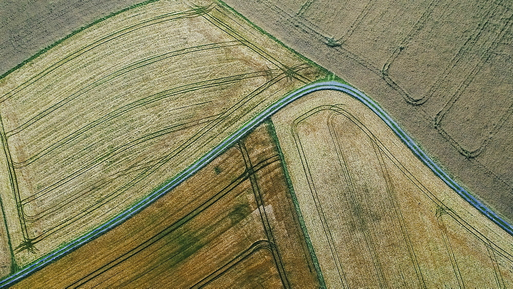 Drone point of view rural farmland crops, Bayern, Germany