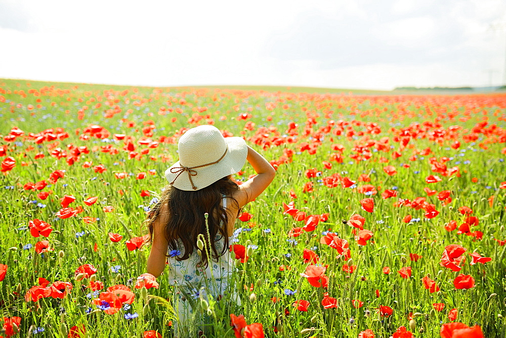 Girl walking in sunny, rural red poppy field