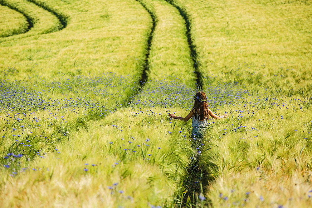 Carefree girl walking in sunny, idyllic rural field with wildflowers