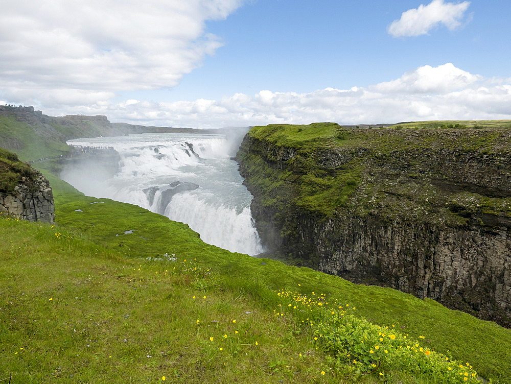 Scenic view waterfall, Gullfoss, Iceland