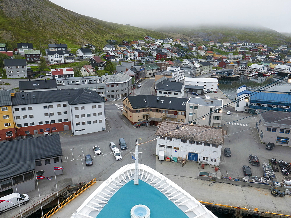 Townscape view from cruise ship, Honningsvag, Norway