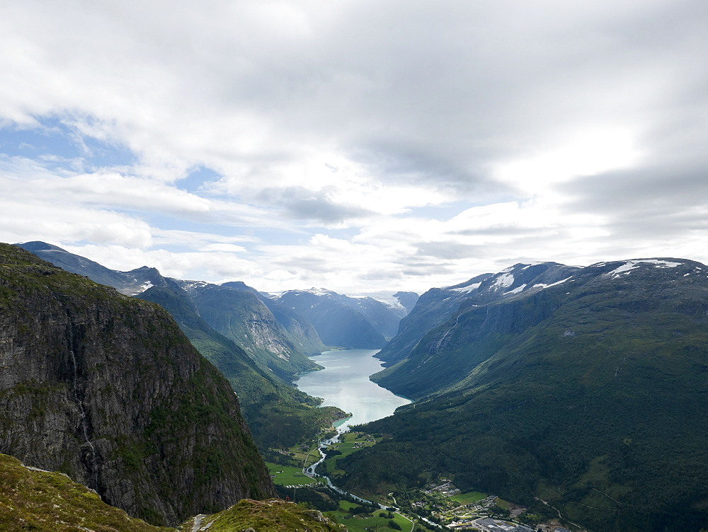 Scenic, majestic mountain and river view, Olden, Norway