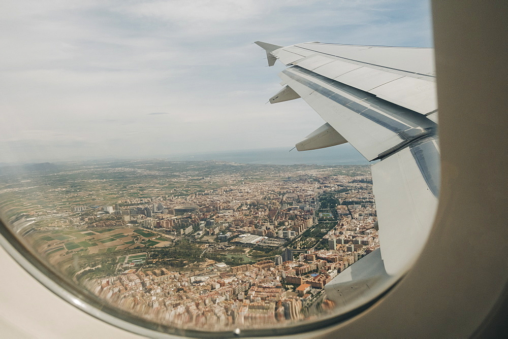 Aerial view of Valencia, Spain from airplane window