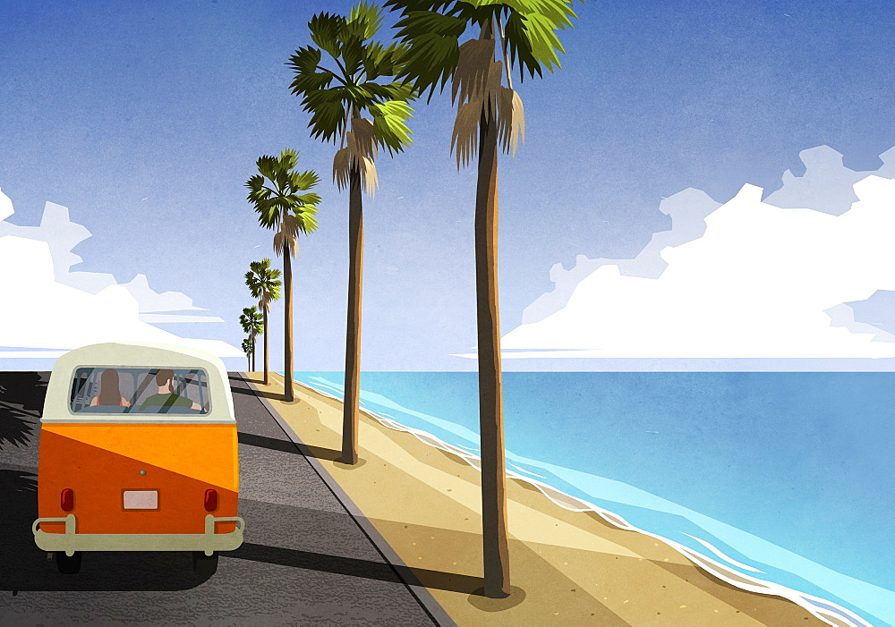 Couple driving along idyllic tropical beach in retro van