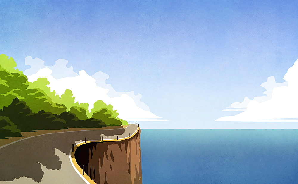 Winding cliff road along ocean