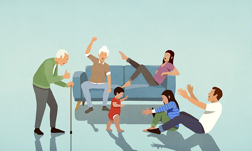 Happy multi-generation family cheering in living room