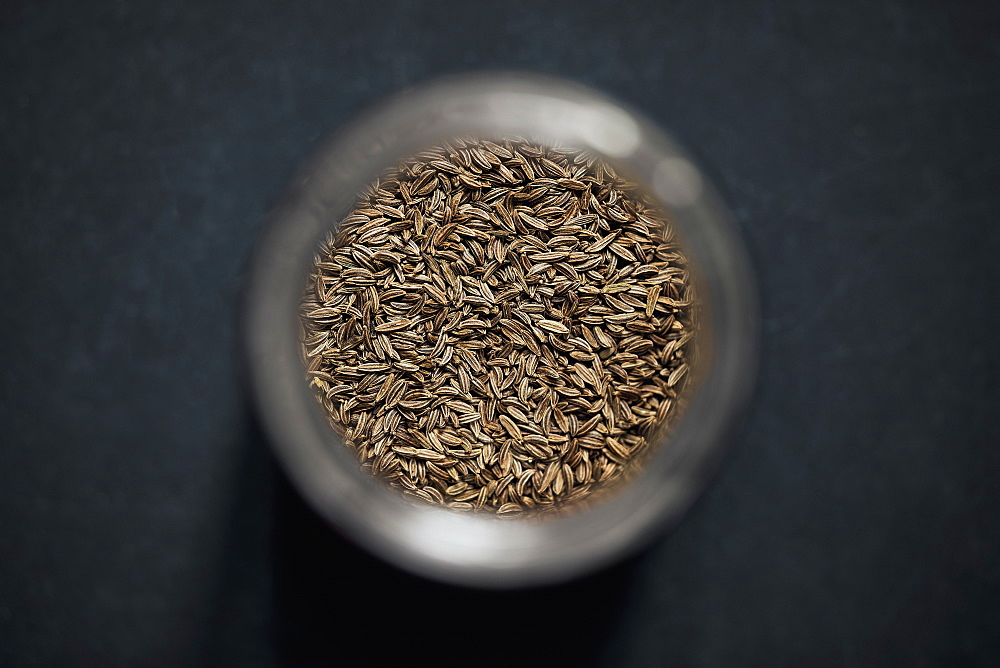 View from above caraway seed in spice jar