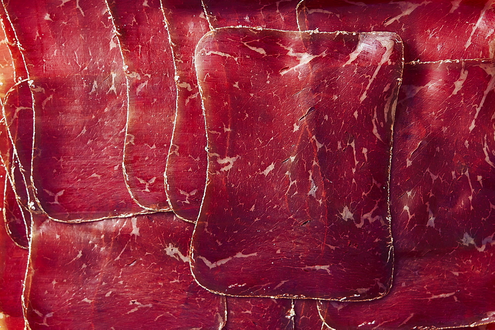 View from above sliced, air-dried Buendnerfleisch meat