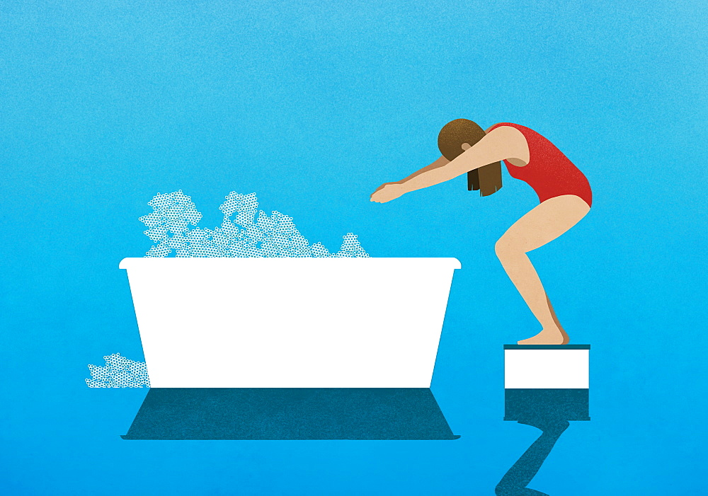 Woman on diving block preparing to dive into bubble bath