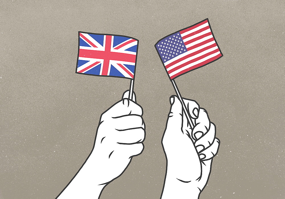 Hands waving small British and American flags