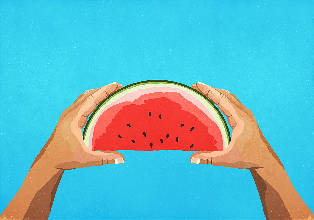 Personal perspective hands holding watermelon slice - 1177-3232
