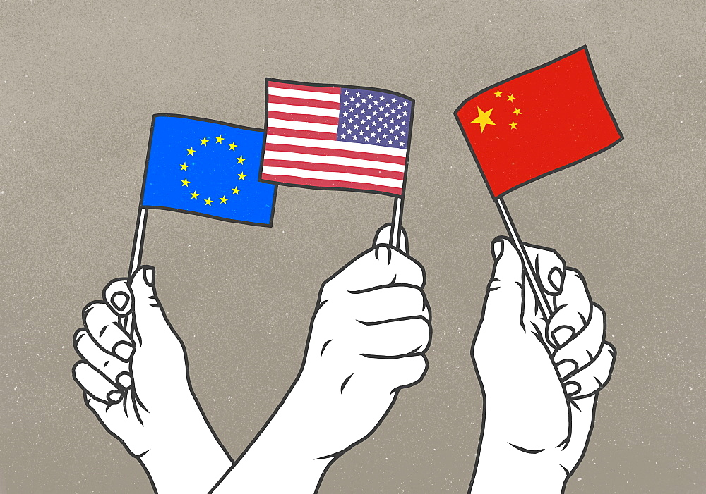 Hands waving small European Union, American and Chinese flags