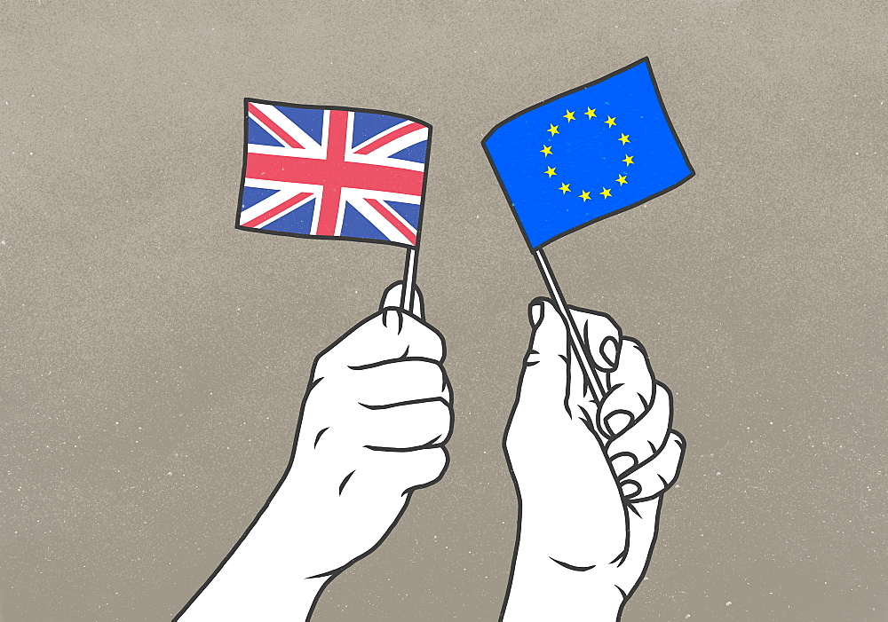 Hands waving small British and European Union flags