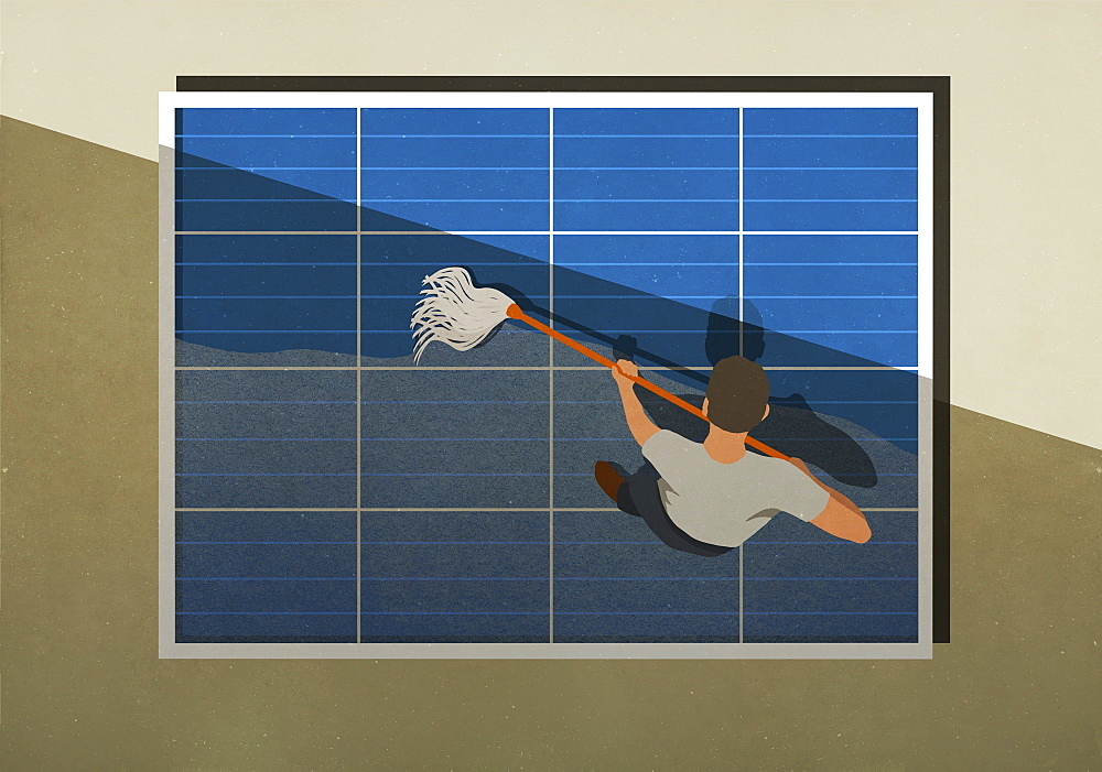 Man mopping solar panels - 1177-3264
