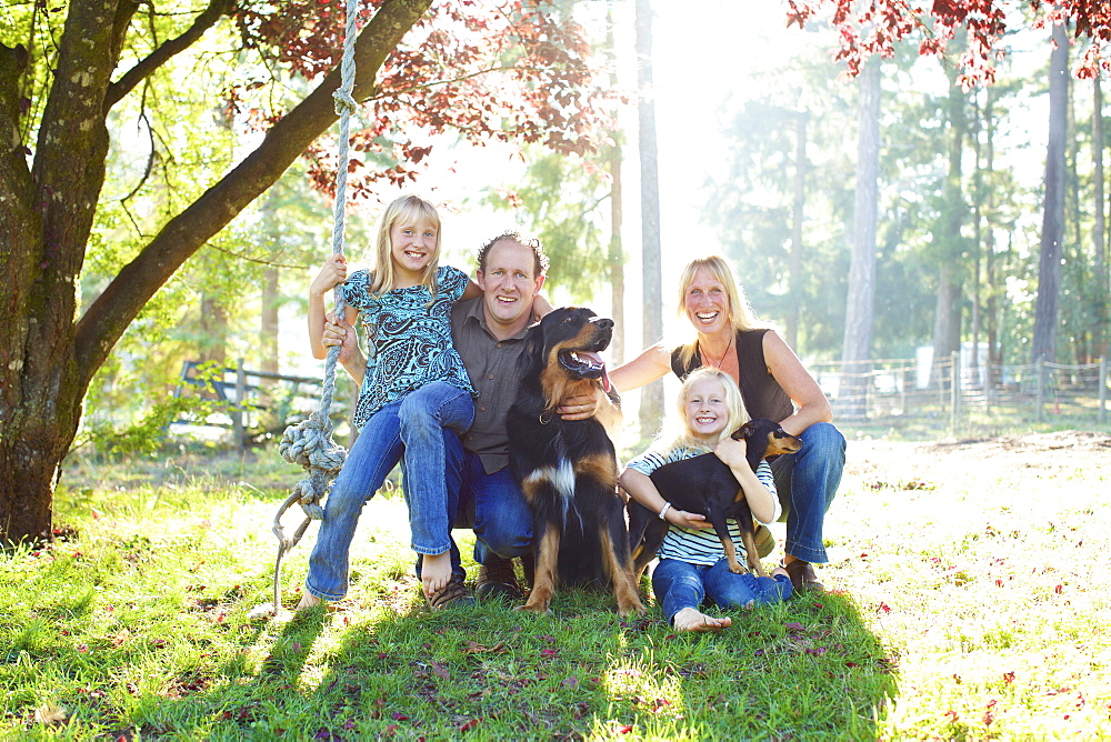 Portrait happy family with dogs in sunny autumn park - 1177-3345