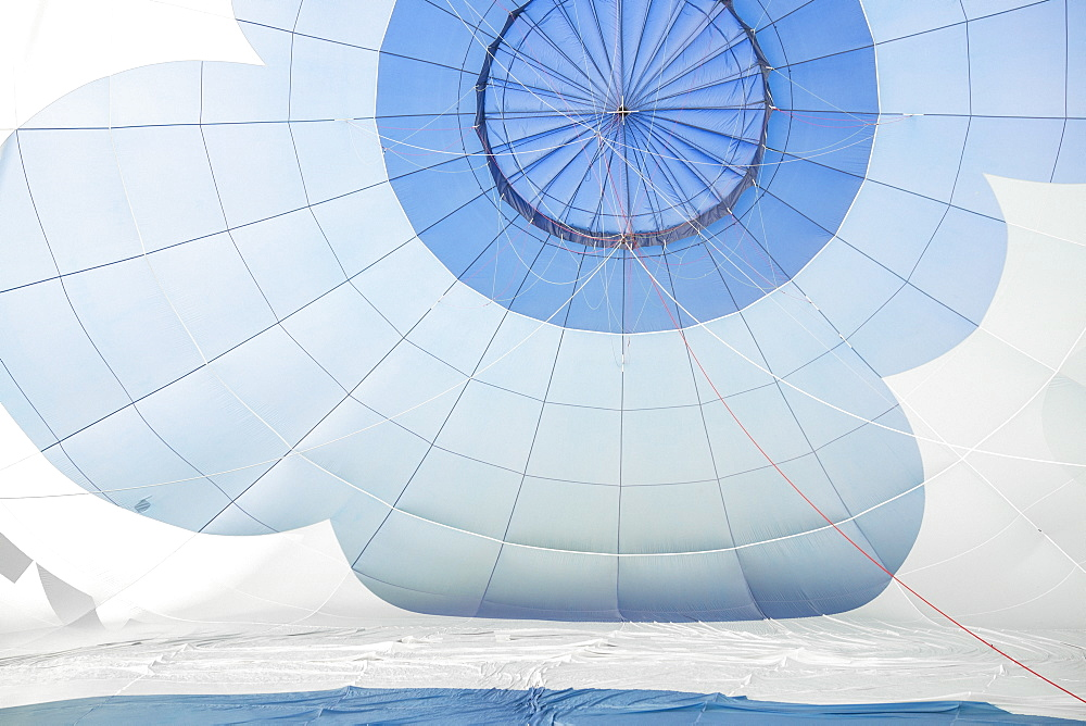 White and blue parachute