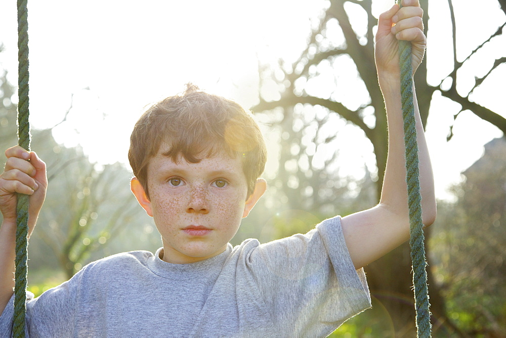 Portrait boy with freckles on rope swing in sunny garden - 1177-3504