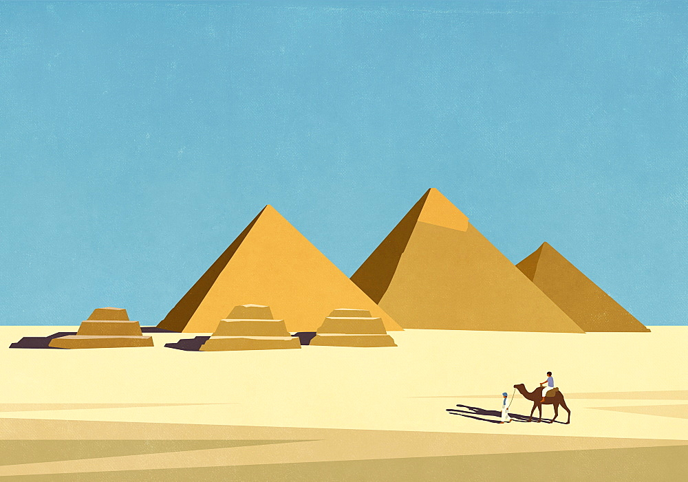 Travellers with camel in front of Egyptian pyramids in sunny desert