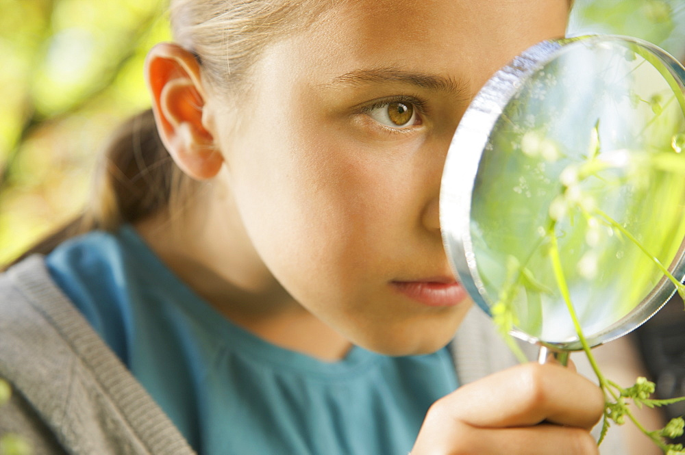Close up curious girl with magnifying glass examining plant - 1177-3579