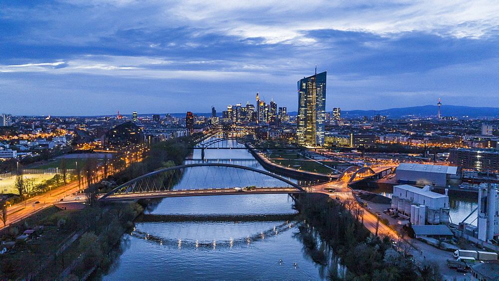 Frankfurt cityscape and bridges over River Main at night, Germany