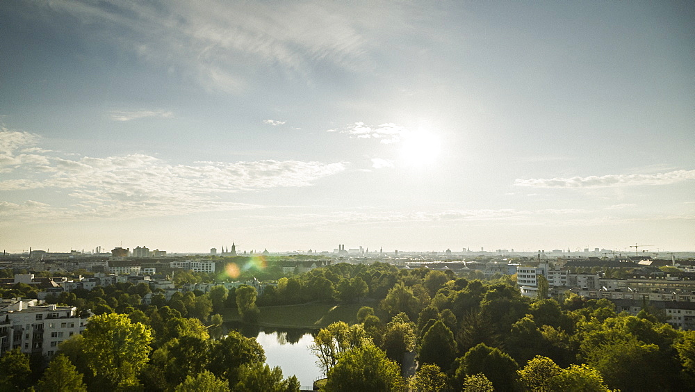 Sunny Munich cityscape and Westpark, Bavaria, Germany