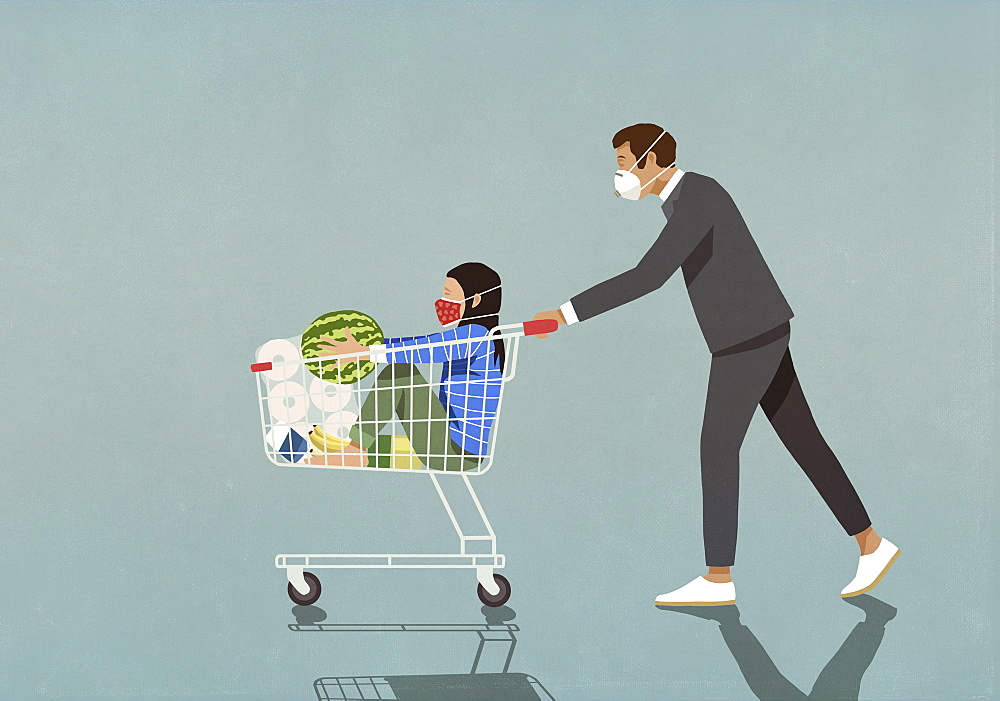 Man with protective face mask pushing daughter in shopping cart