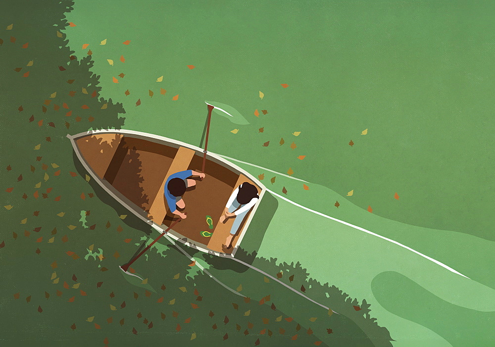 Autumn leaves falling around couple in rowboat on lake - 1177-3913