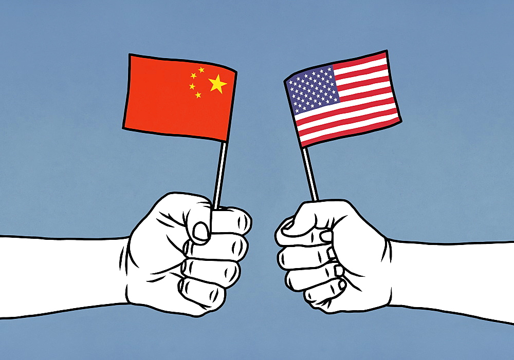 Hands clenching Chinese and American flags on blue background - 1177-4074