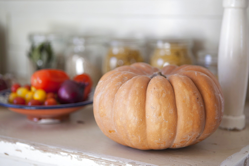 Close-up of pumpkin on kitchen counter