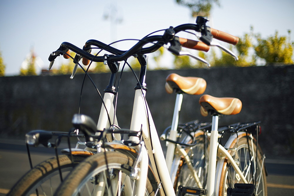 Bicycles parked in street