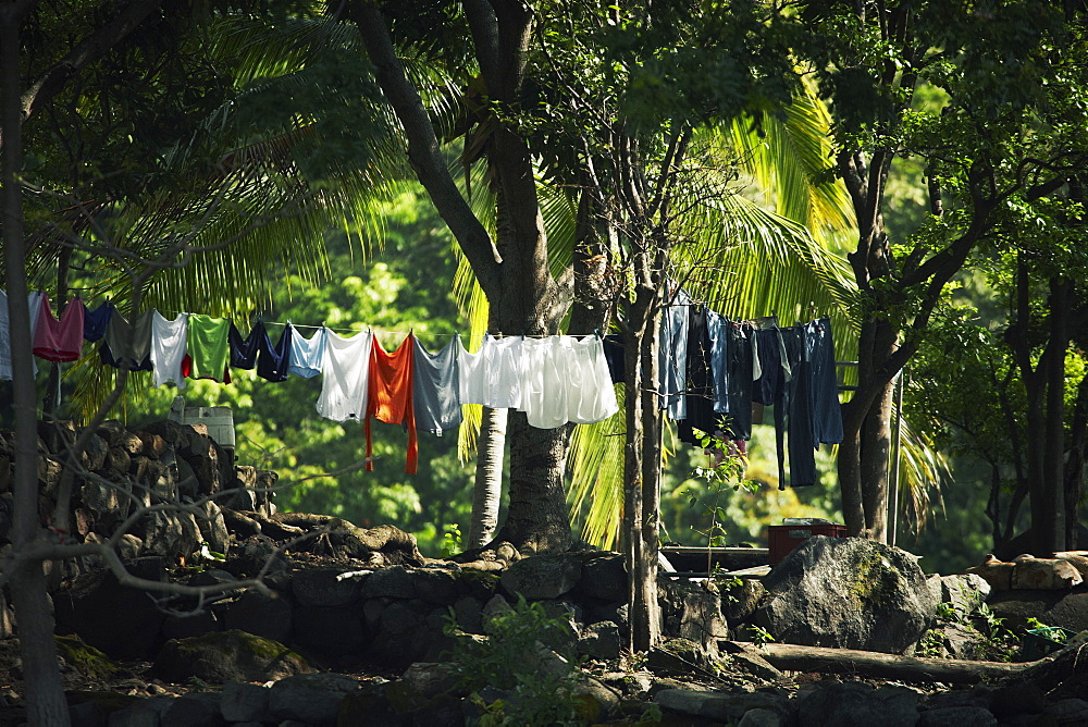 Clothes drying on clothesline outdoors