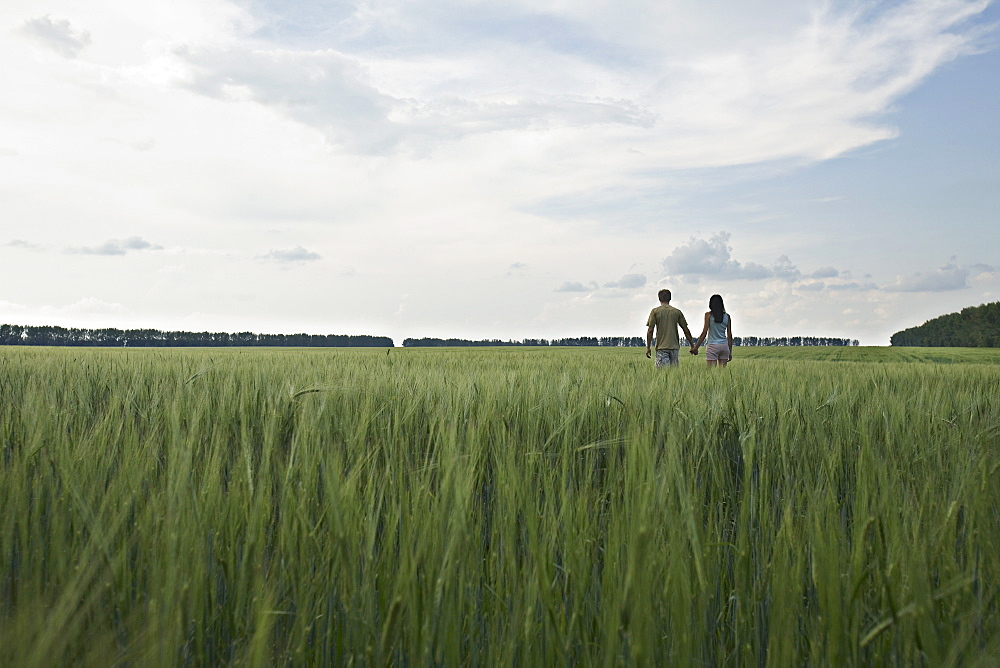 A man and woman walking hand in hand through a remote wheat field