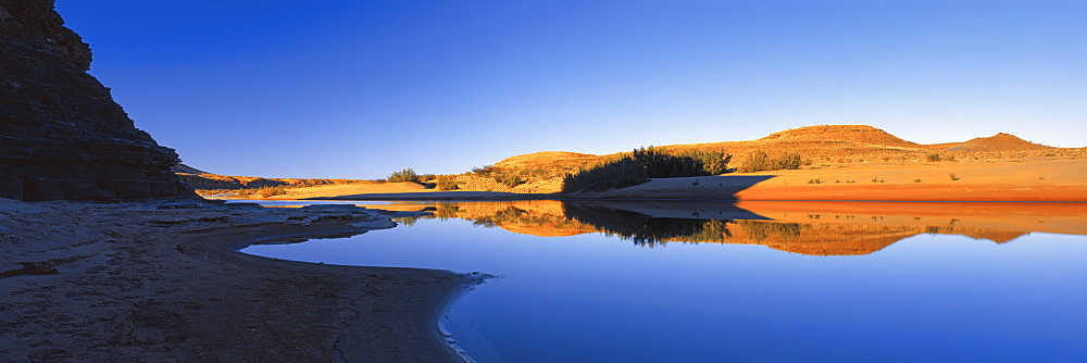 Panoramic view of lake against clear blue sky, Fish River Canyon, Fish River, Namibia