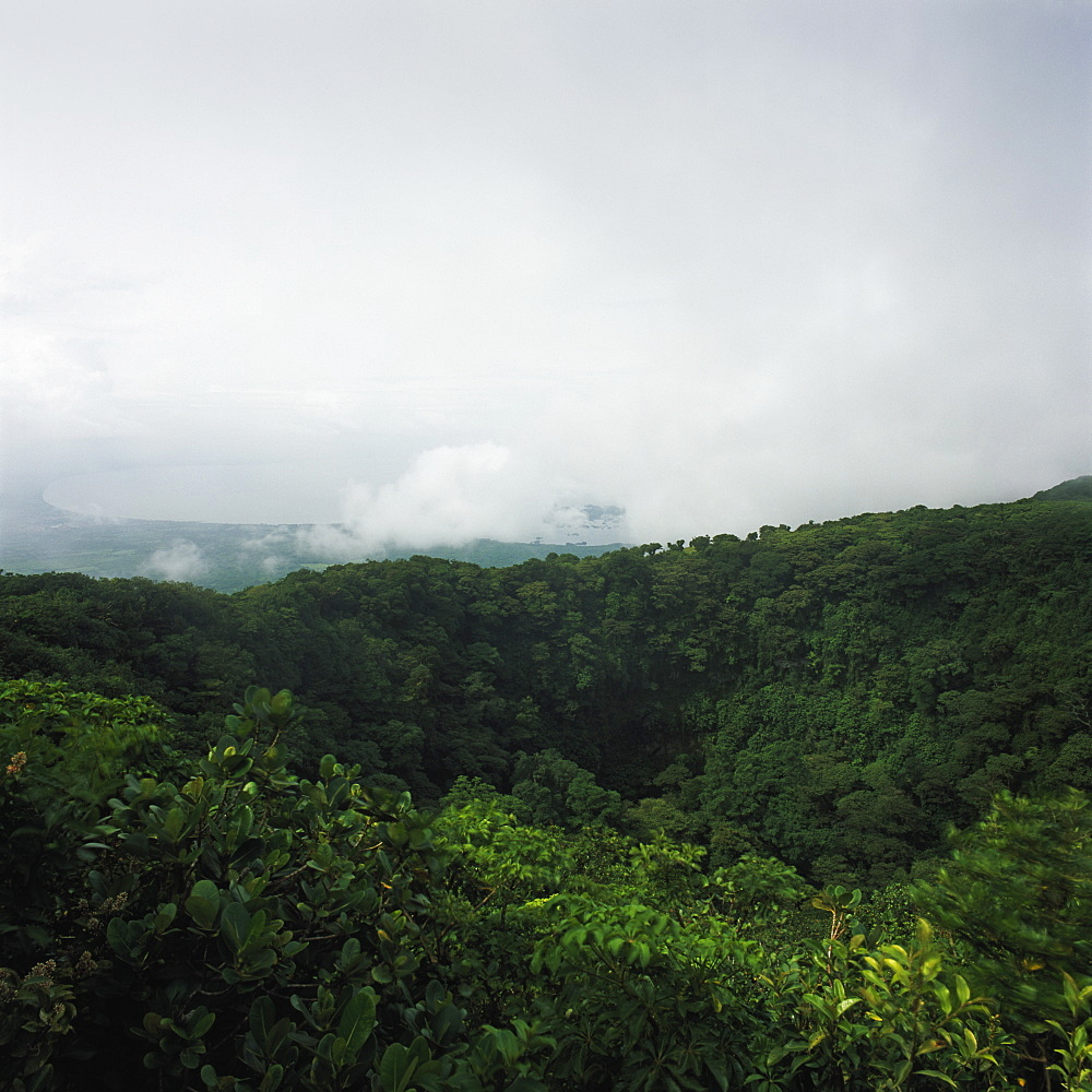 View of forest against cloudy sky, volcano mombacho, nicaragua