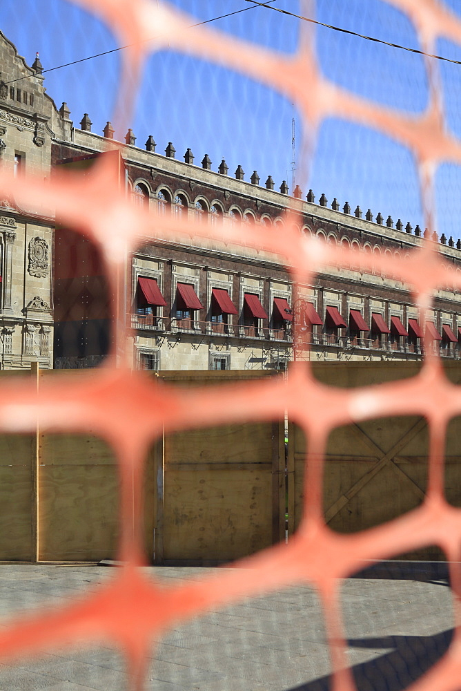 View of National Palace - Mexico City through fence